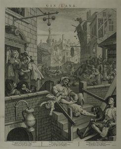 "Image of William Hogarth drawing ""Gin Lane"""